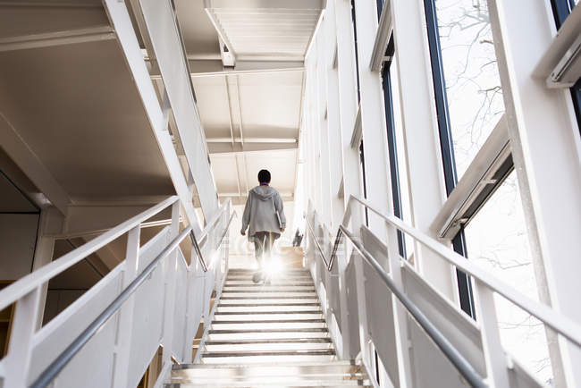 Young Woman Moving Up On Staircase U2014 Stock Photo