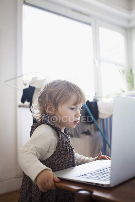 Girl looking at laptop, differential focus — стоковое фото