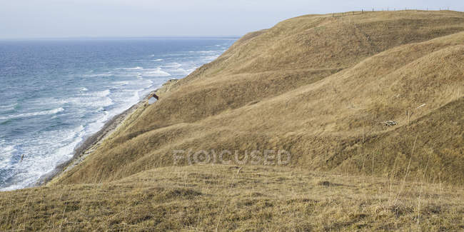 Green hills by sea, northern europe — Stock Photo