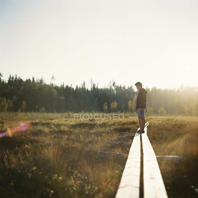 Garçon debout sur le passage supérieur passant par la prairie vers la forêt — Photo de stock