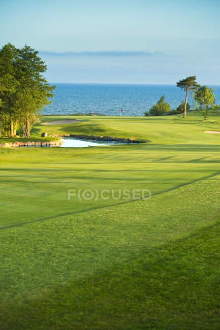 Parcours de golf au bord de la mer avec lac Vattern et arbres — Photo de stock