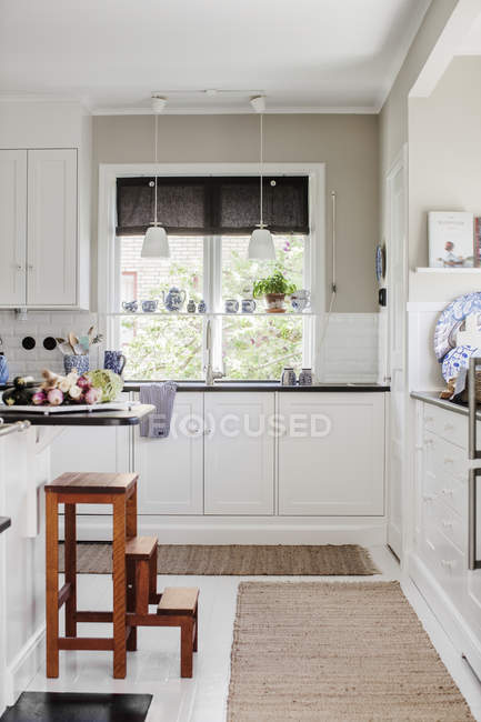 Domestic kitchen, home interior at northern europe — Stock Photo