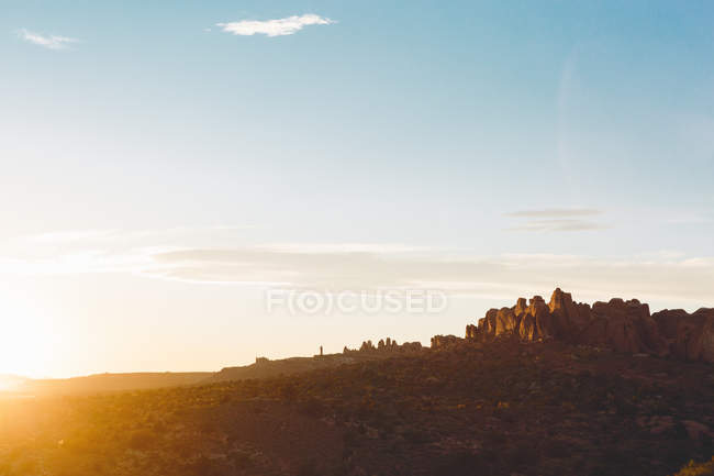 Luz do nascer do sol no Parque Nacional dos Arcos — Fotografia de Stock