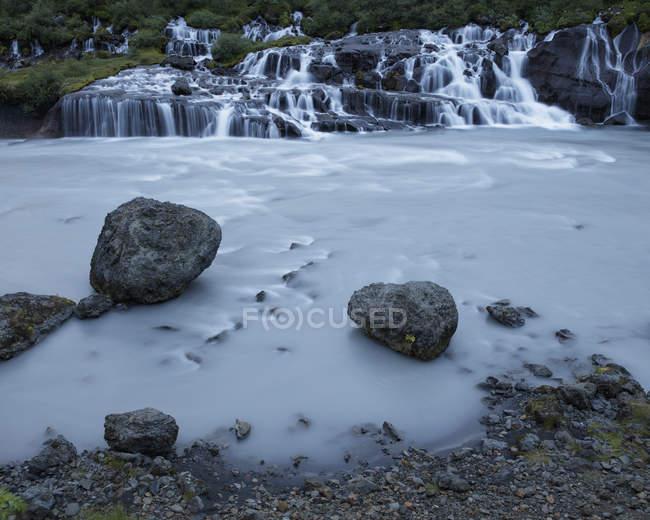 Long exposure shot of Hraunfossar waterfall in Iceland — Stock Photo