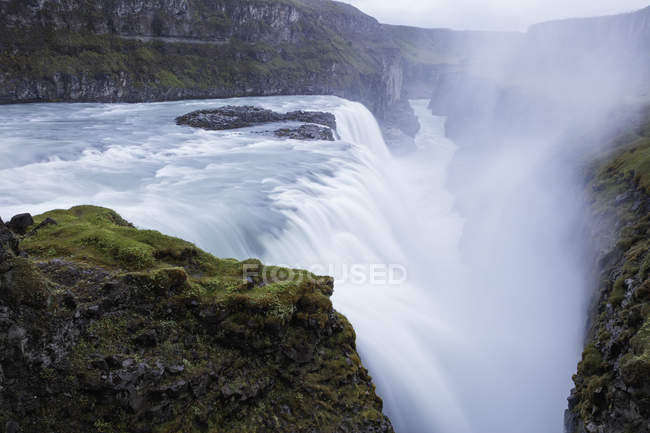 Gullfoss waterfall with steam on Hvita river in Iceland — Stock Photo
