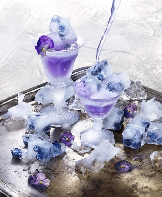 Свежий замороженные десерты с черникой и синие цветы — стоковое фото