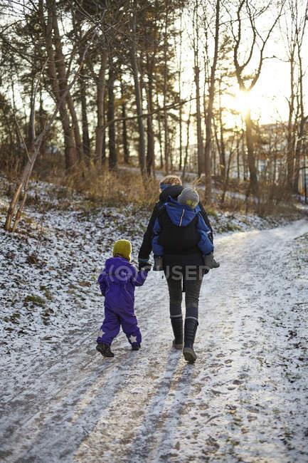 Mujer adulta media caminando con niños - foto de stock
