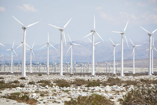 Wind turbines against mountain landscape at Palm Desert — Stock Photo