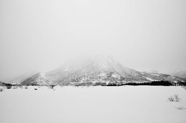 View of snowcapped mountain covered in fog — Stock Photo