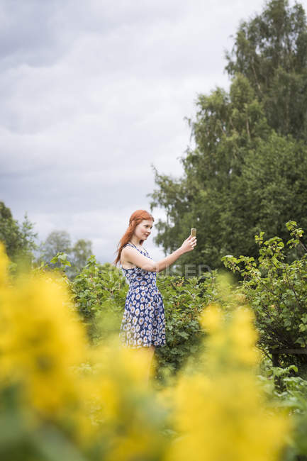 Young woman photographing nature on smartphone — Stock Photo