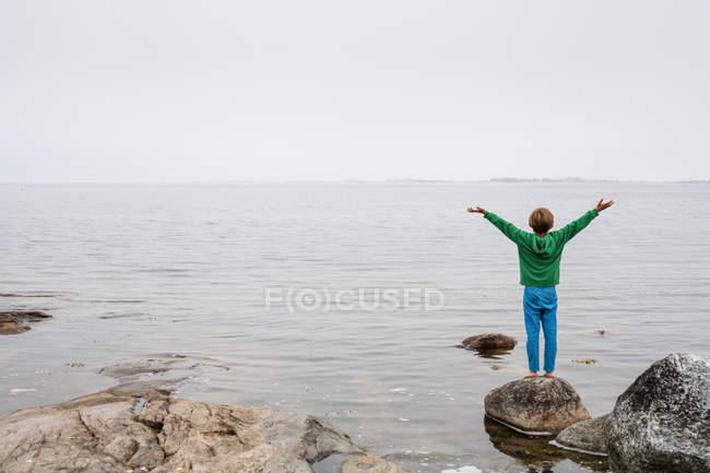 Vista posteriore del ragazzo guardando il lago — Foto stock