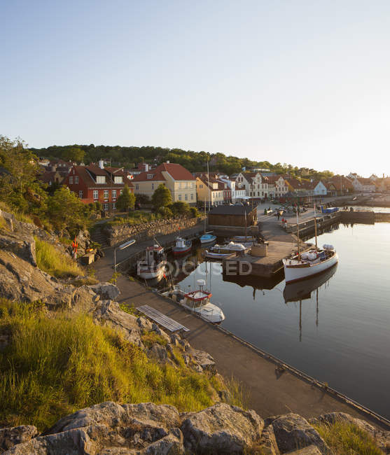 Scenic view of town and harbor at Bornholm, Denmark — Stock Photo