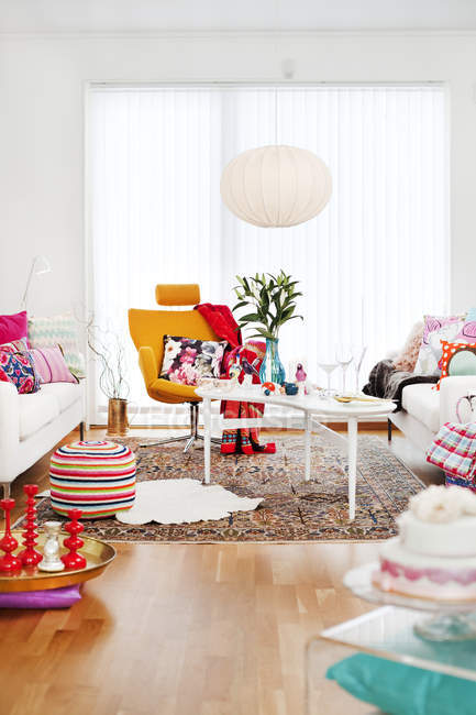 Multi colored living room, selective focus — Stock Photo
