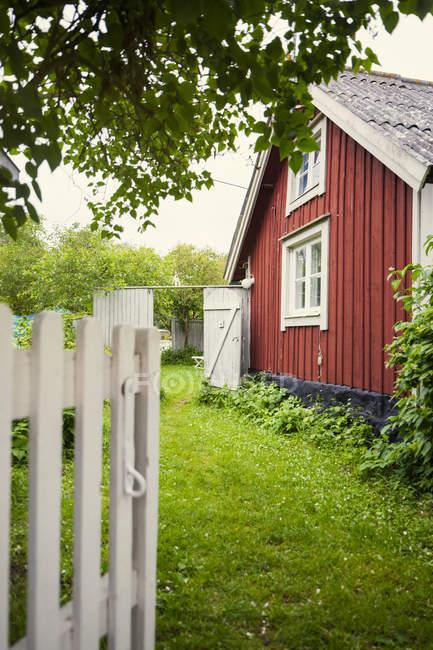 Живописный вид на зеленый двор перед домом — стоковое фото