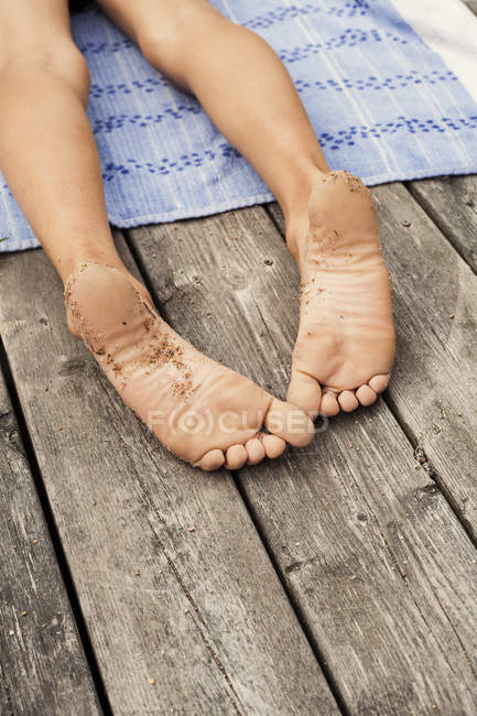 View of boy bare feet, selective focus — Stock Photo