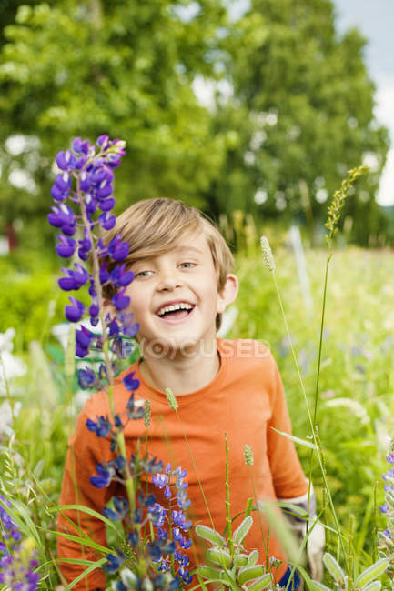Boy looking at flowers, selective focus — Stock Photo