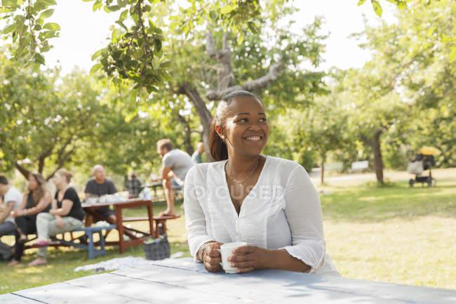 Улыбающиеся женщина на стол для пикника в парке — стоковое фото