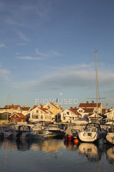 Marina con veleros en el mar al atardecer, escena tranquila - foto de stock