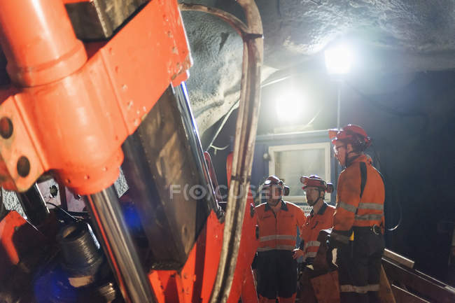 Miners working underground, selective focus — Stock Photo