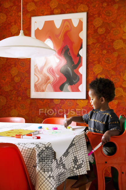 Boy drawing at home, selective focus — Stock Photo