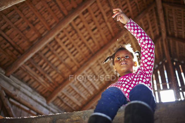 Vista de ángulo bajo de la chica sentada en el granero - foto de stock