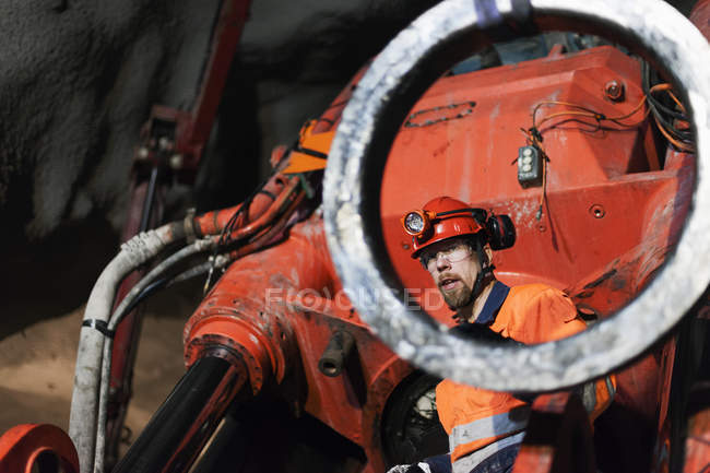 Miner working underground, selective focus — Fotografia de Stock