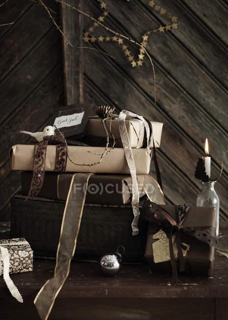 Christmas still life, studio shot — Stock Photo