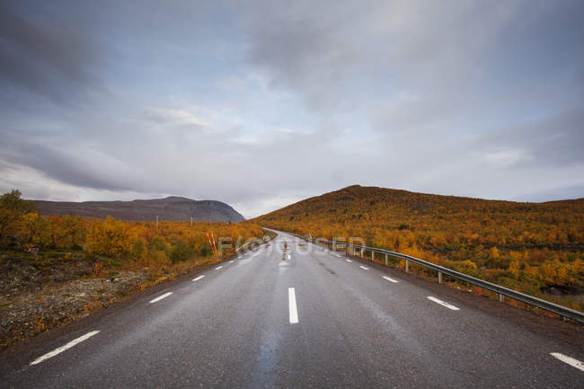 Rural road under blue sky in Sweden — Stock Photo
