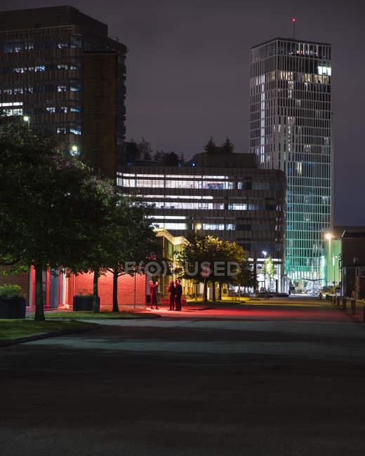 Malmo City di notte, focus selettivo — Foto stock