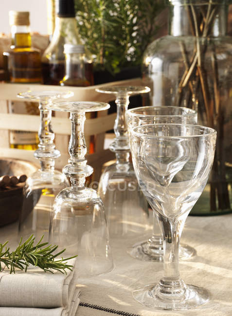 View of backlit wine glasses, differential focus — Stock Photo