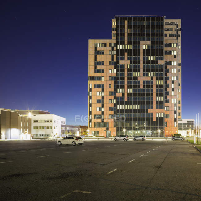 Parking lot and building exterior, northern europe — Stock Photo