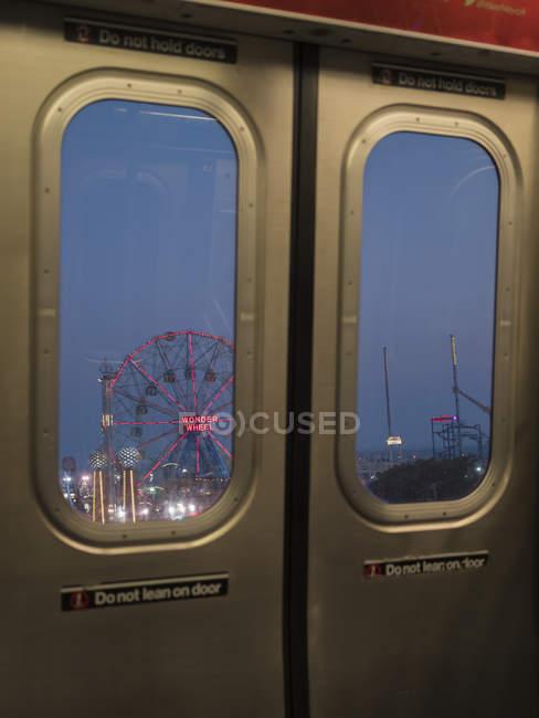 Rollercoaster behind subway doors in Coney Island, New York City — Stock Photo