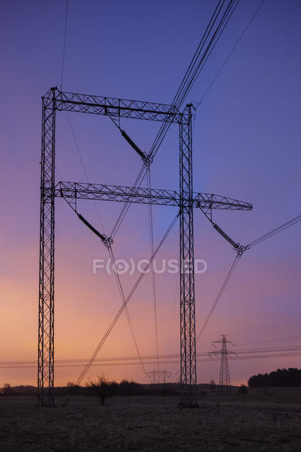 Scenic view of electric wires in field at sunset — Stock Photo