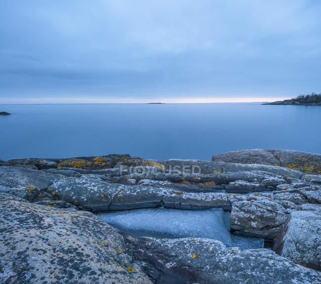 Eroded rock formations on coastline at stockholm archipelago — Stock Photo