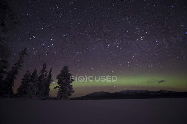 Scenic view of Aurora Borealis on night sky — Stock Photo