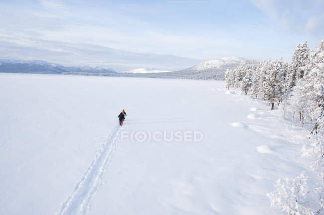 Three men cross-country skiing across frozen lake - foto de stock