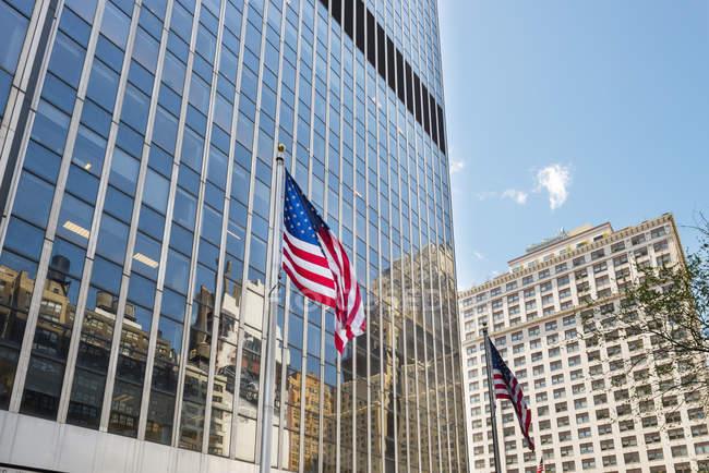 Vue faible angle de drapeaux américains avec des gratte-ciel en arrière-plan — Photo de stock