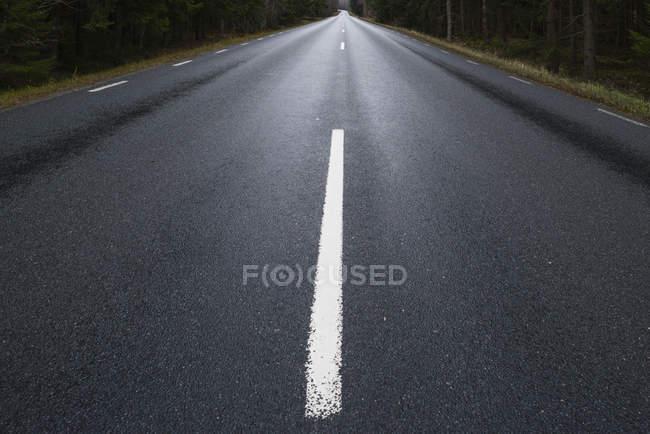 Route asphaltée avec ligne, diminuant la perspective de démarcation — Photo de stock