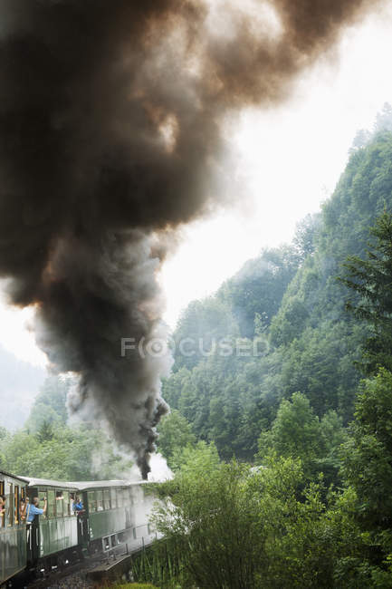 Train leaving smoke, selective focus — Photo de stock