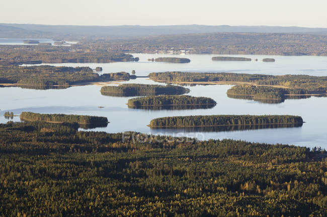Scenic view of river and forest, scandinavia — Stock Photo