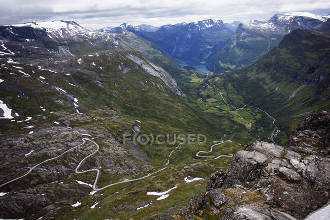Elevated view of mountains and valley seen from Dalsnibba — Stock Photo