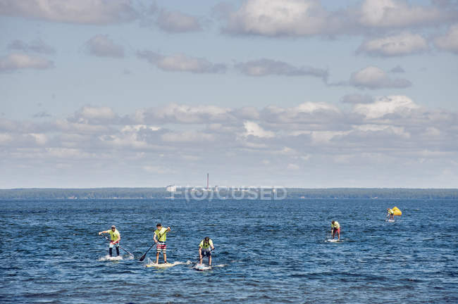 Young men paddleboarding on lake — стокове фото