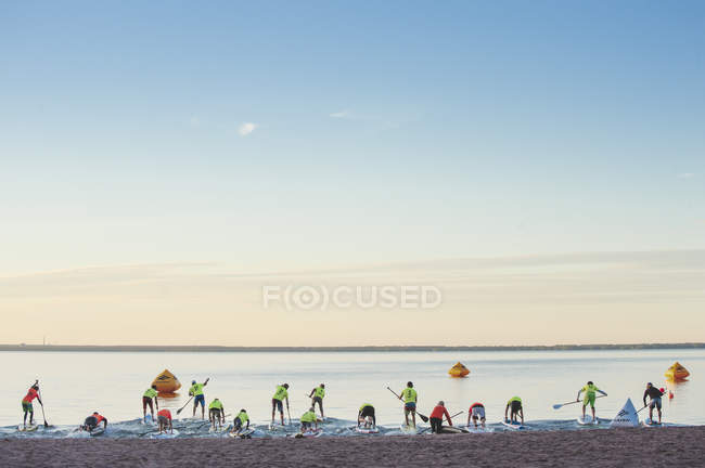 Paddlers by shore during race, selective focus — Stock Photo
