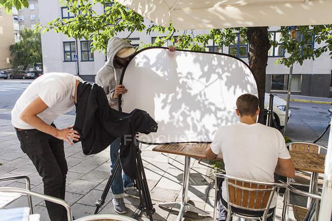 Produção cinematográfica definida na rua, foco seletivo — Fotografia de Stock