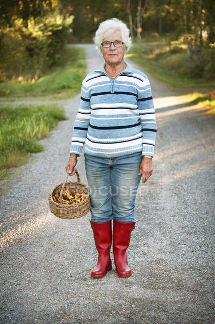 Ritratto di donna anziana che raccoglie funghi finferli — Foto stock