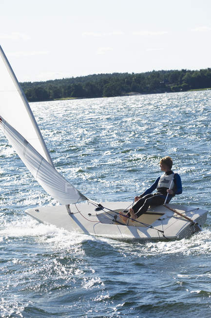 Man in sailing boat, selective focus — Stock Photo