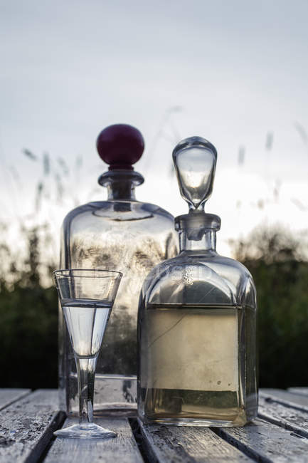 Close-up of alcohol bottles, selective focus — Stock Photo