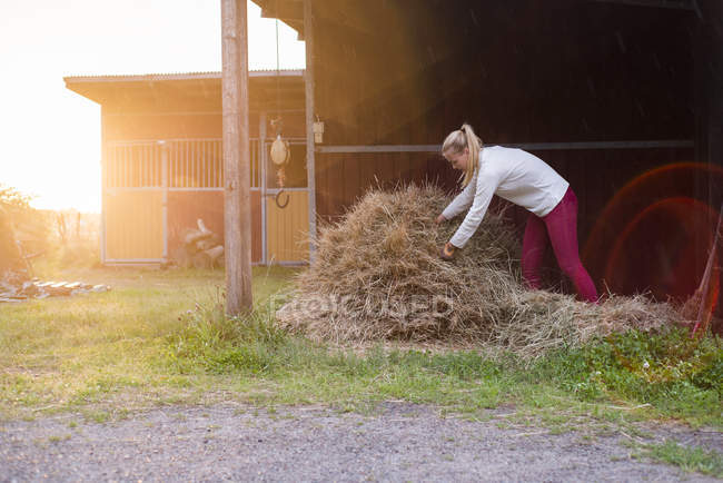 Young woman carrying hay, lens flare — Stock Photo