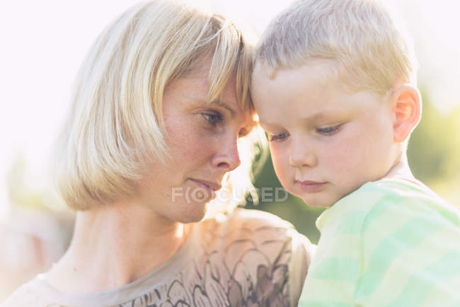 Portrait of mother and son, selective focus — Stock Photo