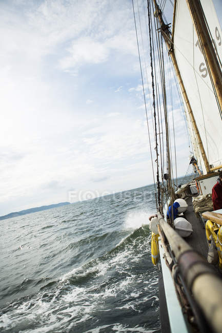 View of sea from sailboat, selective focus — Stock Photo